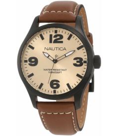 Nautica Men's N13616G Beige Crocodile Leather Quartz Watch