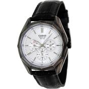 Casio Men's Core BEM310BL-7A Silver Leather Quartz Watch