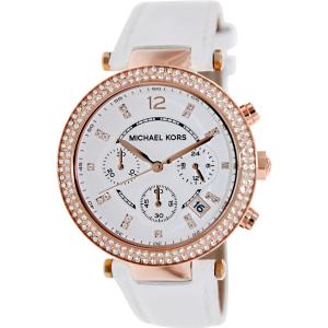 Michael Kors Women's Parker MK2281 White Leather Quartz Watch