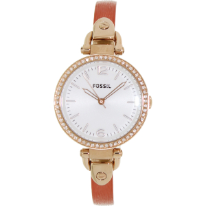 Fossil Women's Georgia ES3237 Silver Leather Quartz Watch