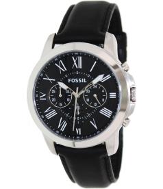 Fossil Men's Grant FS4812 Black Leather Quartz Watch