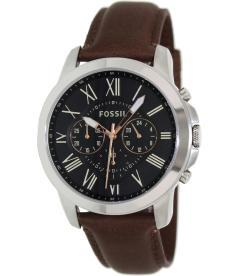 Fossil Men's Grant FS4813 Black Leather Quartz Watch