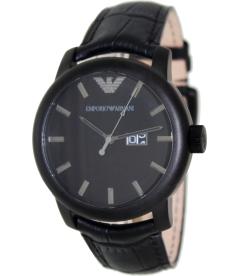 Emporio Armani Men's Classic AR0496 Black Leather Quartz Watch