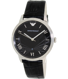 Emporio Armani Men's Classic AR1611 Black Leather Analog Quartz Watch