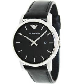 Emporio Armani Men's Classic AR1692 Black Leather Quartz Watch