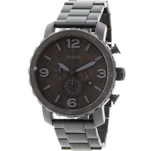 Fossil Men's Nate JR1401 Black Stainless-Steel Japanese Quartz Fashion Watch