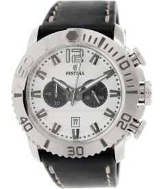 Festina Men's Chrono F16614/1 Black Leather Analog Quartz Watch