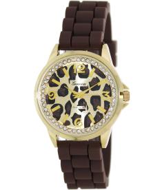 Geneva Platinum Women's 4504.BROWN.ANIMAL Gold Silicone Quartz Watch
