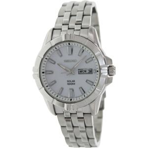 Seiko Men's Solar SNE175 White Stainless-Steel Quartz Watch