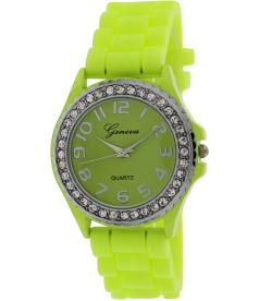 Geneva Platinum Women's 002.NEONYELLOW.SILVER Yellow Silicone Analog Quartz Watch