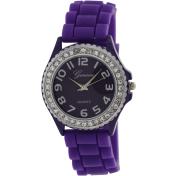 Geneva Platinum Women's 002.PURPLE.SILVER Purple Silicone Analog Quartz Watch