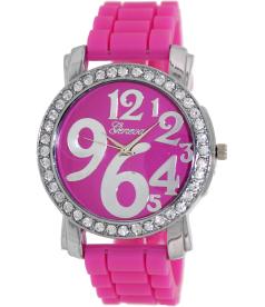 Geneva Platinum Women's 1309.PINK.SILVER Pink Silicone Quartz Watch