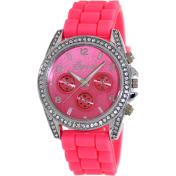 Geneva Platinum Women's 1557.HOTPINK.SILVER Pink Silicone Quartz Watch