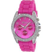 Geneva Platinum Women's 1557.PINK.SILVER Pink Silicone Quartz Watch