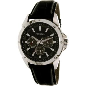 Bulova Men's Sport 96C113 Black Leather Quartz Watch