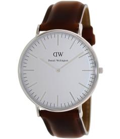 Daniel Wellington Men's Classic St. Andrews 0207DW Silver Leather Quartz Watch