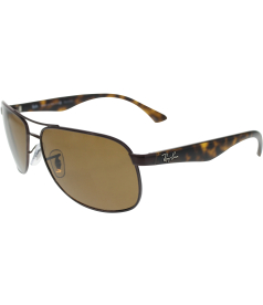 Ray-Ban Men's Polarized  RB3502-014/57-61 Brown Oval Sunglasses