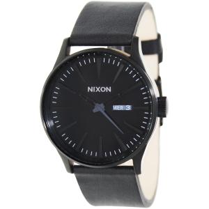 Nixon Men's Sentry Leather A105001 Black Leather Quartz Watch
