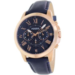 Fossil Men's Grant FS4835 Blue Leather Analog Quartz Watch