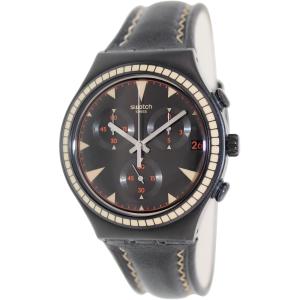 Swatch Men's Irony YCB4024 Black Leather Swiss Quartz Watch