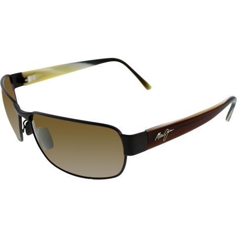 Maui Jim Men's Polarized Black Coral H249-19M Brown Rectangle Sunglasses