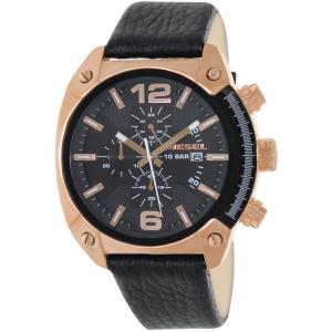 Diesel Men's Overflow DZ4297 Black Leather Quartz Watch