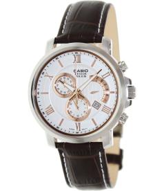 Casio Men's Beside BEM507L-7AV White Leather Quartz Watch