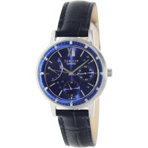 Casio Women's Sheen SHE3028L-2A Black Leather Quartz Watch