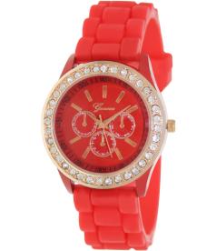 Geneva Platinum Women's 004.ROSEGOLD.RED Red Rubber Analog Quartz Watch
