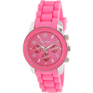 Geneva Platinum Women's 0148.SILVER.NEONPINK Pink Rubber Analog Quartz Watch