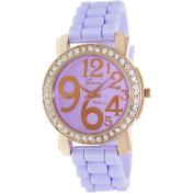 Geneva Platinum Women's 1309.ROSEGOLD.LAVENDER Purple Rubber Analog Quartz Watch
