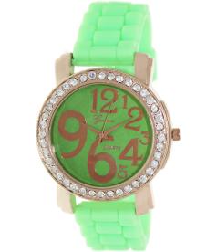 Geneva Platinum Women's 1309.ROSEGOLD.NEONGREEN Green Silicone Analog Quartz Watch