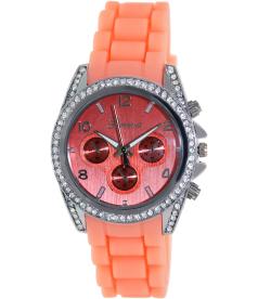 Geneva Platinum Women's 1557.SILVER.MANGO Pink Silicone Analog Quartz Watch
