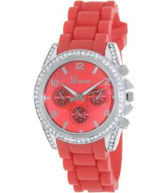 Geneva Platinum Women's 1557.SILVER.RED Red Rubber Analog Quartz Watch