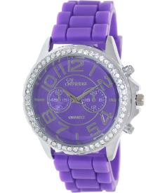 Geneva Platinum Women's 3049.SILVER.PURPLE Purple Rubber Analog Quartz Watch