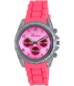 Geneva Platinum Women's 1557.SILVER.NEONPINK Pink Silicone Analog Quartz Watch