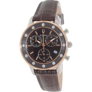 Bulova Women's Diamond 98R160 Brown Leather Quartz Watch