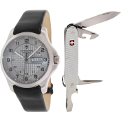 Victorinox Swiss Army Men's Officer's 241550.2 Silver Leather Swiss Quartz Watch