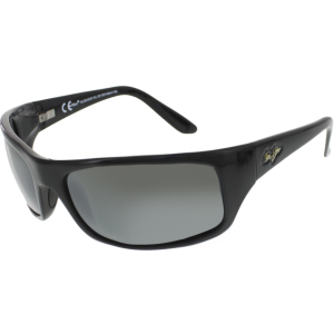Maui Jim Men's Polarized Peahi 202-02 Black Rectangle Sunglasses