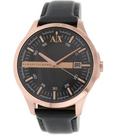 Armani Exchange Men's AX2129 Black Leather Quartz Watch