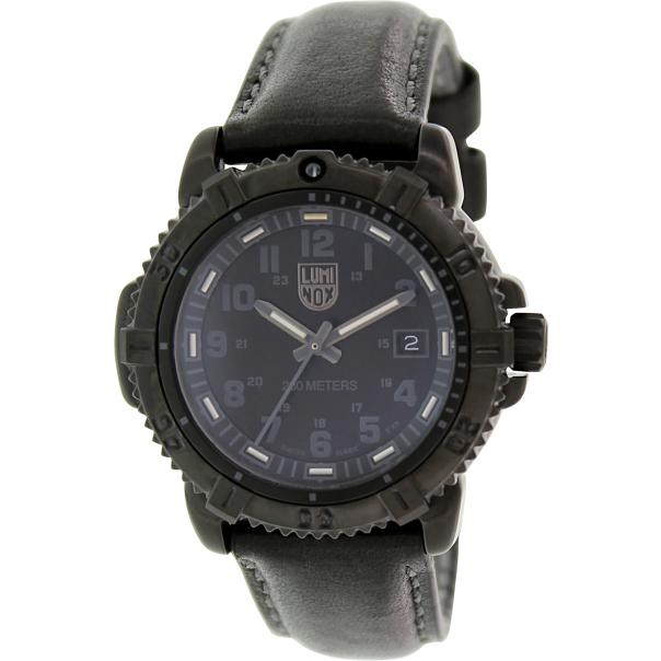 luminox s steel colormark 7251 bo black leather