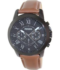 Fossil Men's Grant FS4885 Black Leather Quartz Watch