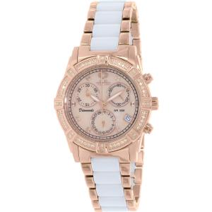 Swiss Precimax Women's Desire Elite Ceramic Diamond SP13304 Rose Gold Ceramic Swiss Chronograph Watch