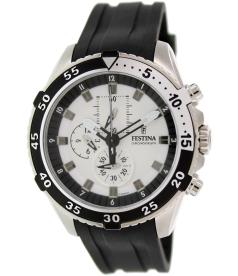 Festina Men's Chrono F16604/1 White Rubber Quartz Watch