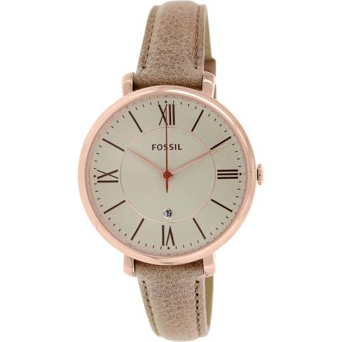 Fossil Women's Jacqueline ES3487 Beige Leather Quartz Fashion Watch