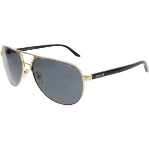 Versace Men's Polarized  VE2142-100281-60 Gold Aviator Sunglasses
