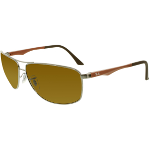 Ray-Ban Men's Polarized  RB3506-132/83-64 Silver Oval Sunglasses