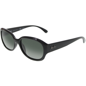 Ray-Ban Women's Polarized  RB4198-601/58-55 Black Round Sunglasses