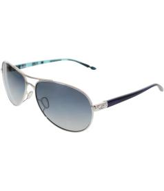 Oakley Women's Polarized Feedback OO4079-07 Silver Aviator Sunglasses