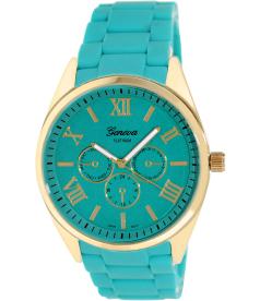 Geneva Platinum Women's 2359.TEAL.GOLD Green Rubber Quartz Watch